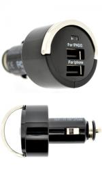Fonerange USB Dual Plug Car Charger for Major Smartphones, iPads/iPhones (5.0V 2.1A / 1.0A)
